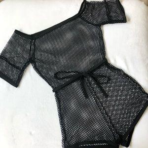 Nasty Gal Swim - Nasty Gal Swim Cover Up Fishnet Romper Black (M)